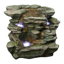 Alpine - Rock Waterfall with White LED Light - Features: