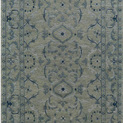 Momeni - Sedona Light Blue Rectangular: 5 Ft. 6 In.  x 8 Ft. 6 In. Rug - - Sedona features beautiful bold floral motifs in a contemporary color scheme with elegant border designs. It is hand knotted in India from fine New Zealand wool with an over twisted yarn to achieve a coarse thick and rich pile.  - Pile Height: 0.5 Momeni - SEDONSD-15LBL5686