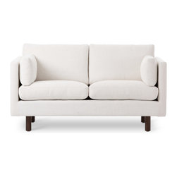 Bryght - Nova White Loveseat - The Nova collection characterizes a Danish design that elegantly unifies modern minimalist lines with functionality. Upholstered to perfection in a classic basket weave fabric that brings forth elements of harmony and affinity to your space.