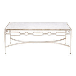 Worlds Away - Worlds Away Champagne Silver Leafed Coffee Table with White Marble Top GRACE S - Worlds Away Champagne Silver Leafed Coffee Table with White Marble Top GRACE S