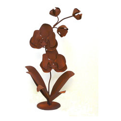 Large Orchid Garden Sculpture - This graceful orchid garden art sculpture is hand shaped and welded from heavy rusted steel in America. It will add beauty to any yard or patio. It is designed by California artist Susan Regert.