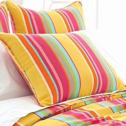 Pine Cone Hill - happy yellow stripe sham - Designed in the Berkshires of Massachusetts, every item from the pine cone hill bedding collection has been tailored from high quality imported textiles in a variety of versatile neutrals, vibrant hues and engaging patterns. Choose from textiles that weave a complementary theme throughout your entire bedroom and beyond. Many patterns and colors are available in blankets, duvets. throws, decorative pillows, shams and bed skirts.
