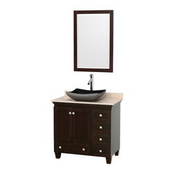 "Wyndham Collection - 36"" Acclaim Single Vanity w/ Ivory Marble Countertop & Altair Black Granite Sink - Sublimely linking traditional and modern design aesthetics, and part of the exclusive Wyndham Collection Designer Series by Christopher Grubb, the Acclaim Vanity is at home in almost every bathroom decor. This solid oak vanity blends the simple lines of traditional design with modern elements like beautiful overmount sinks and brushed chrome hardware, resulting in a timeless piece of bathroom furniture. The Acclaim comes with a White Carrera or Ivory marble counter, a choice of sinks, and matching mirrors. Featuring soft close door hinges and drawer glides, you'll never hear a noisy door again! Meticulously finished with brushed chrome hardware, the attention to detail on this beautiful vanity is second to none and is sure to be envy of your friends and neighbors"