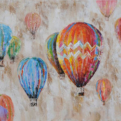 "Vertuu Design - 'Dreamer' Artwork - Bring vibrant color to your home with the bright ""Dreamer"" Artwork. Featuring rainbow-colored hot air balloons floating against a textured taupe background, this hand-painted acrylic canvas works well with both bold and neutral color schemes. Hang it in an office or bedroom for an energizing look."