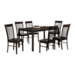 "Casa Blanca - 7-Piece Belmont Collection Vertical Slatted Chairs and Dining Table Set - 7-Piece Belmont collection vertical slatted style back chairs and espresso finish wood dining table set and leather like seats. This set includes the table with tapered legs and 6 side chairs upholstered with leather like seats and vertical slatted backs. Table measures 36"" x 60"" X 30"" H. Chairs measure 38"" H to the back. Some assembly required."