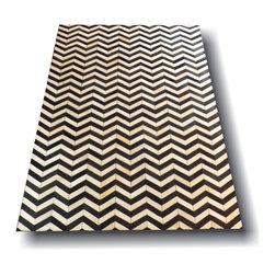 Kaymanta - 6 x 9 Ft. | Black & White Chevron Design, Natural White Hair on Leather Carpet, - Chevron 6 x 9 Ft. | Natural Black & White Hair on Cow Leather Rug