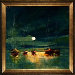 overstockArt.com - Kopania - Boats (with moon) - Boats is a beautiful night image of boats navigating the dark waters by moon light. Enjoy its beauty and color reproduced as a fine canvas print. Justyna Kopania is from Warszawa, Poland. In her words when she paints she tries to show the 'world', which could be seen by looking at reality that surrounds us, from another perspective, unusual, remote, sometimes through the eyes of the child, sometimes music, composer, or someone who looks lichen on the sea, the moon , the sky and the stars ..., the river ... looks out the window and looks out into the street. Walking down the street looking at people's faces. In rain, snow or fog. Perhaps the world that surrounds us really is quite different than we perceive it every day.