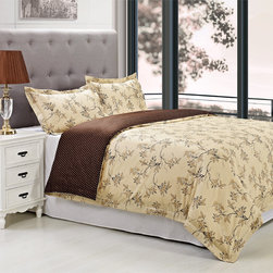 None - Woodhaven Cotton 300 Thread Count 3-piece Duvet Cover Set - The earthy floral pattern on the Woodhaven duvet cover will instill subtle yet sophisticated style into your bedroom decor. Designed with a chic dotted reverse,this comfortable cotton cover is accented with two matching shams and is machine washable.