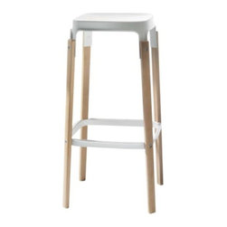 Magis - Steelwood Stool by Magis - The Magis Steelwood Stool features visible joints for a down-to-earth yet modern effect. The seat and foot rest is plated in steel, painted in epoxy resin for lasting enjoyment. The legs are made of solid beech available in a natural or painted look. Founded in 1976 by a newcomer to the Italian furniture business (Eugenio Peruzzi), Magis today continues to give modern furniture design a novel twist. Magis embraces the creativity of leading global designers (Richard Sapper, Jasper Morrison, Konstantin Grcic, Ron Arad and many others) and incorporates sophisticated technology and materials into every chair, table and design accessory they make.