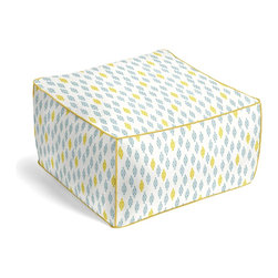Aqua & Yellow Mini Emblem Square Pouf - The Square Pouf is the hottest thing in decor since the sectional sofa. This bean bag meets Moroccan style ottoman does triple duty as a comfy extra seat, fashion-forward footstool, or part-time occasional table.  We love it in this small indian boteh motif in bright aqua & mustard yellow on white cotton for a modern meets eclectic accent.