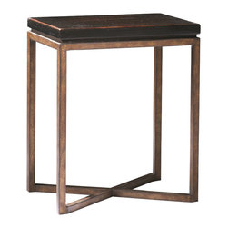 Sherrill Occasional - Sherrill Occasional Wine Table 322-810 - The perfect complement to your favorite chair or as a pair in front of your transitional sofa. Bronze textured metal base.