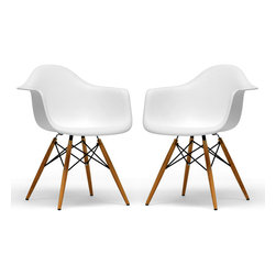 Baxton Studio - Baxton Studio Pascal White Plastic Chair Set of Two - The retro simplicity of these classic white accent chairs will instantly enhance the modernity of your room. Each of these contemporary chairs is made from durable molded plastic with an ergonomically-shaped and curved seat. The legs are wooden and include steel hardware in black as well as black plastic tips to protect sensitive flooring. Assembly is required.