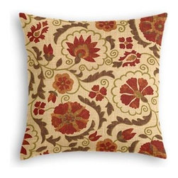 Red & Beige Suzani Custom Throw Pillow - The every-style accent pillow: this Simple Throw Pillow works in any space.  Perfectly cut to be extra fluffy, you'll not only love admiring it from afar but snuggling up to it too! We love it in this eclectic swirling suzani in rust red and grass green on tan linen.