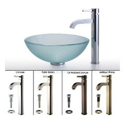 Kraus - Kraus Frosted Glass Vessel Sink and Ramus Faucet Satin Nickel - *Add a touch of elegance to your bathroom with a glass sink combo from Kraus