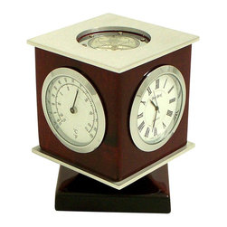 Bey-Berk - Bey-Berk International Revolving Cube Weather Station & Compass Desktop Clock Mu - Shop for Clocks from Hayneedle.com! Guaranteed to make a great impression the Revolving Cube Weather Station & Compass Desktop Clock is a smart gift for the busy executive or anyone who wants to feel like one. This cubed piece of architectural art provides a timepiece a compass and a thermometer. Each is framed by gleaming chrome and is situated atop a rich rosewood box. This desk set uses SR626 batteries (included) the same power source used in high-end watches for consistent power output. The clock displays hours and minutes with streamlined hands sweeping across simple Roman numerals. The thermometer reads in both Celsius and Fahrenheit. The compass indicates direction. The cube revolves so you can view important information from nearly any vantage point.About Bey-Berk InternationalThis quality item is created by Bey-Berk. For more than 20 years Bey-Berk International has crafted and hand-selected unique gifts and accessories from around the world to meet the demands of discerning customers. With its line of elegant and distinctive products Bey-Berk has established itself as a leader in luxury accessories.