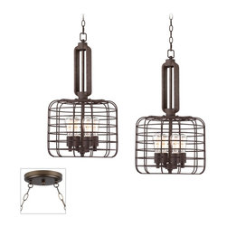 """Franklin Iron Works - Industrial Industrial Style Cage Bronze Double Multi Light Pendant - Our multi swag chandeliers let you add designer lighting to any room. The special swag canopy installs into any ceiling junction box just like a normal ceiling light or chandelier. Install hooks in the ceiling and swag the chain to the canopy; adjust the hanging length as desired. With the hanging options you can get the exact look and light placement you need. This version features a bronze finish double swag canopy. It's paired with two designer industrial style cage pendants from Franklin Iron Works in rust finish. Multi swag chandelier. With two designer industrial style cage pendants. Includes bronze finish special canopy adaptor. Installs into any ceiling junction box. Includes swag hooks and mounting hardware. Each pendant includes 6 feet chain 10 feet wire. Includes eight 60 watt Edison bulbs. Canopy is 7"""" wide. Each pendant is 27 1/2"""" high 14 1/2"""" wide. Some assembly required; instructions included.  Multi swag chandelier.  With two designer  industrial style cage pendants.  Includes bronze finish special canopy adaptor.  Installs into any ceiling junction box.  Includes swag hooks and mounting hardware.  Each pendant includes 6 feet chain 10 feet wire.  A stylish large chandelier.  Includes eight 60 watt Edison bulbs.  Canopy is 7"""" wide.  Each pendant is 27 1/2"""" high 14 1/2"""" wide.  Some assembly required; instructions included."""