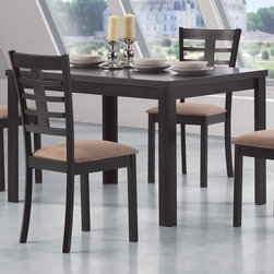 Coaster - Kato Dining Table, Cappuccino - The simply styled table has a smooth rectangular table top above sleek square legs. The chairs have high backs with an open grid pattern for a unique style. Padded seats covered in a soft mocha colored microfiber adds to the comfort and durability of these chairs. This groups is crafted from select hardwoods and veneers.