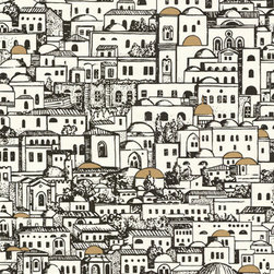 Fornasetti Mediterrania White Wallcovering - Bring the beauty of Mediterranean architecture to your home via this intricate wallpaper from the Fornasetti Collection.
