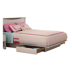 South Shore - South Shore Maddox Full / Queen Storage Platform Bed Frame Only in Pure White Fi - South Shore - Beds - 3160217 - The Maddox Storage Platform Bed has a laminated particle board construction with a pure white finish. This Full or Queen size platform bed features two storage drawers for all your storage needs. It has Smart Glide drawer slides for a smooth gliding motion. With its sleek trendy black finish and hidden storage drawers the Maddox Platform Bed is the ideal central fixture of your private space.