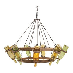 IMAX - Wine Bottle Chandelier - Wine country lights the way home with a wine bottle chandelier combining metal, wood and colored glass for a sophisticated reclaimed look.
