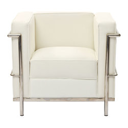 East End Imports - Le Corbusier Lc2 Arm Chair in Genuine White Leather - The Le Corbusier Petit represents uncompromising quality with affordability you won't find anywhere else. Each piece is made to preserve the specifications of the original using modern day manufacturing techniques, so every surface is sleek and smooth. This exceptional piece of furniture provides you comfort and long lasting quality, the kind you deserve.