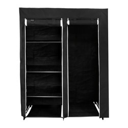 Florida Brands - Black 48 Inch Portable Closet - 48 Inch Portable closet , 5 fabric shelves, Durable frame, strong metal hanging bar, Improved cover strength, Breathable fabric cover to keeps clothes fresh, 2 Zippered front doors, Easy No tools assembly, measurers 62 x 48 x 20