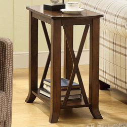 Monarch - Cherry Brown Veneer Accent Side Table - This cherry wood veneer traditional accent table will bring warmth and style to your home with the thick top and fixed shelf beneath. The cross bar sides add a splash of classic fashion.