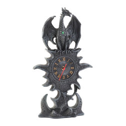 KOOLEKOO - Black Dragon Mantel Clock - This dramatic mantel clock features a mythical winged dragon guarding the eternal hands of time. Golden roman numerals on the face of the battery-powered clock are the perfect accent to the steel-gray color of the clock and base, and a bright green jewel adorns the chest of the perched dragon.