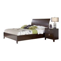Modus Furniture - Modus Legend Wood 2-Piece Platform Bedroom Set in Chocolate Brown - With subtle, flowing lines, the Legend Wood bedroom embodies casual contemporary design. Bentwood drawer fronts framed within horizontal parting rails are complemented by a precision-cut stacked wave pattern on the headboard. A satin chrome bar pull mounted vertically at the apex of each drawer face completes the look.