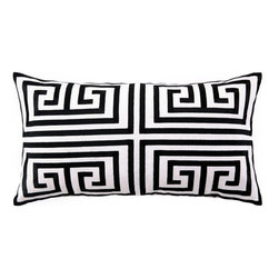 Trina Turk Greek Key Black Embroidered Linen Pillow - This black and white Greek key print design would be amazing on a petite chair. Liven up a solid fabric or add further pizzazz in conjunction with a tiny print.