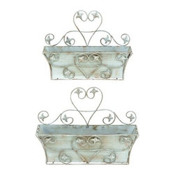 "Benzara - Classic Metal Wall Planter and Rustic Finish - Set of 2 - Classic Metal Wall Planter and Rustic Finish - Set of 2. A rustic and worn out look adds to the beauty of this metal wall planter which is a Set of 2. It is available in 2 size variants - 11""H x 16""W x 5 1/2""D, 13""H x 18""W x 6""D."