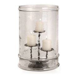 Tabitha Glass Cylinder with Three Pillar Holder - This textured glass cylinder, featuring a metal insert to hold three pillar candles at varying heights, makes a bold statement in candle lighting.
