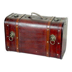 Antique Pirate Suitcase with Lion Rings - Our warm and welcoming steamer trunk brings back days of old time. Remember how excited you are when you were a little kid to look into your grandma's old chest, our decorative trunks will bring back those memories and help you create some new ones too. Our hope chest boxes are all handcrafted and tailored to enhance the existing decor of any room in the home. Great to use for your very own treasure chest!
