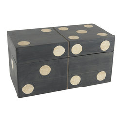 Domino Box - Wisteria's home décor accessories collection includes several different assortments of containers & wastebaskets including this wooden domino box perfect for storage of game pieces.
