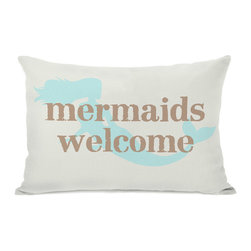 None - Mermaids Welcome Throw Pillow - Add a great conversation piece with bright and fun throw pillows that will surely liven up any space!