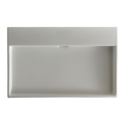 "WS Bath Collections - Urban 100 Ceramic Sink 39.4"", Without Faucet Hole - Urban 100 by WS Bath Collections 39.4 x 17.7 Wall-mount or Countertop Installation Bathroom Sink/ Washbasin in Ceramic White"