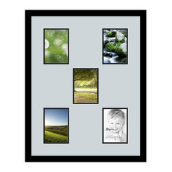 ArtToFrames - ArtToFrames Collage Photo Frame  with 5 - 5x7 Openings - This sleek Satin Black, 1.25 inch wide collage frame, features a multiple opening display for 5 - 5x7 snapshots of your choice. This collage is part of a vast collage frame selection and boasts a broad line of carefully constructed frames at a price you can smile about! Homespun and created to outfit your snapshots making sure you 5 - 5x7 art will fit perfectly. Bordered in a bold Satin Black, flawless frame and surrounded by a sophisticated Baby Blue mat, the collage arrangement most definitely shows off your photographs, and most cherished memories in an entirely special and vivid way. This collage frame comes protected in Styrene, equipped with appropriate hardware and can be hung up in the blink of an eye. These premium quality and authentic wood-based collage frames differ in style and size specifics; all in contemporary and modern design. Mats are available in a myriad of color tones, spaces, and shapes. It's time to tell your story! Preserving your saving your memories in an original and brilliant brand-new way has never been easier.