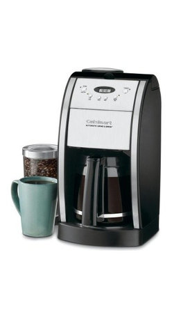 Cuisinart DGB-550BK Automatic Grind and Brew Coffee Maker - Imagine waking up each morning to a hot pot of the freshest most aromatic coffee possible. It's possible with the Cuisinart DGB – 550BK Automatic Grind and Brew. In a stainless steel and black housing this brewing machine will look sleek on your countertop and serve up a delicious cup. It automatically grinds whole beans just before brewing so you get the freshest pot of coffee possible. With 24-hour programmability you can have the coffee brewed and waiting for you when you wake up. There is a brew pause feature that lets you enjoy a cup before the machine is done brewing and you can set it to brew one to four cups if you don't need a full carafe. Additional features include an adjustable automatic shutoff from 0 to 4 hours for added safety and a grind off feature for those times when you're using pre-ground beans. This 12-cup glass carafe equals out to 5 ounces each cup. It has an ergonomic handle and dripless spout for easy pouring and a knuckle guard for safety. A charcoal water filter removes impurities so you'll get a clean fresh pot with every brew. The gold-tone commercial filter will be great pot after pot keeping the grounds where they belong. Enjoy easy cleaning thanks to the separate grinder chamber and filter area. About CuisinartOne of the most recognized names in cookware and kitchen products Cuisinart first became popular when introduced to the public by culinary experts Julia Child and James Beard. In 1973 the Cuisinart food processor revolutionized the way we create fine food and healthy dishes and since that time Cuisinart has continued its path of innovation. Under management by the Conair Corporation since 1989 Cuisinart is a universally celebrated name in kitchens across the globe. With a full-service product line including bakeware blenders coffeemakers cookware countertop appliances kitchen tools and much much more Cuisinart products are preferred by chefs and loved by consumers for 