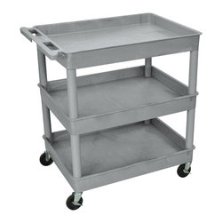 """Luxor - Luxor Tub Cart - TC111-G - These Luxor TC series utility carts are made of high density polyethylene structural foam molded plastic shelves and legs that won't stain, scratch, dent or rust. Features a retaining lip around the back and sides of flat shelves. Includes four heavy duty 4"""" casters, two with brake. Has a push handle molded into the top shelf."""