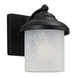 Sea Gull Lighting - Sea Gull Lighting 84048-185 Yorktowne Forged Iron Outdoor Wall Sconce - The Sea Gull 84048-185 Yorktowne Outdoor Wall Lantern is cast aluminum finished in Forged Iron with Swirled Marbleized glass.