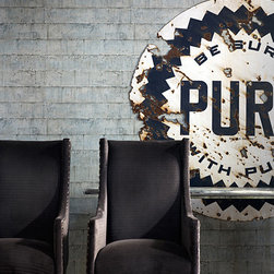 Industrial Wallpaper - An industrial wallpaper design emulating a factory style wall. Produced in Britain by Andrew Martin Home.