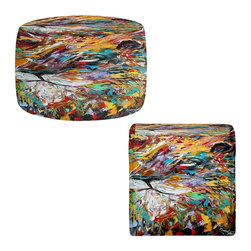 DiaNoche Designs - Ottoman Foot Stool by Karen Tarlton - Abstract Lion - Lightweight, artistic, bean bag style Ottomans. You now have a unique place to rest your legs or tush after a long day, on this firm, artistic furtniture!  Artist print on all sides. Dye Sublimation printing adheres the ink to the material for long life and durability.  Machine Washable on cold.  Product may vary slightly from image.