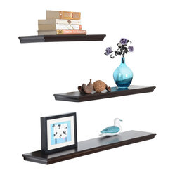 Welland - Floating 3-Piece Wall Shelf Set - Sleek and lightweight, these three shelves are each a different length, allowing you to create a custom display area for your treasures. Stagger them to show of a collection of multisized vases or frames, or stack vertically to create a pyramid display.