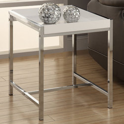 Monarch - White Acrylic/Chrome Metal Accent Table - Take your living room to the next level with this fabulous white acrylic top and chrome based accent table. The sturdy chrome metal based offers a lifetime of support for any room.