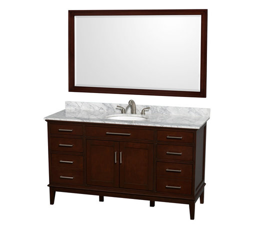Wyndham Collection - Eco-Friendly Bathroom Vanity - Includes white Carrera marble countertop with backsplash and undermount oval porcelain sink. Faucet and mirror not included. Transitional style. 8 in. widespread three hole faucet mount. Practical floor-standing design. Plenty of storage and counter space. 12-stage wood preparation, sanding, painting and hand-finishing process. Highly water-resistant low V.O.C. sealed finish. Six deep doweled drawers. Two functional doors. One storage shelf behind doors. Fully-extending under-mount soft-close drawer slides. Concealed soft-close door hinges. Metal exterior hardware with brushed chrome finish. Engineered to prevent warping and last lifetime. Made from zero emissions solid birch hardwood. Dark chestnut finish.