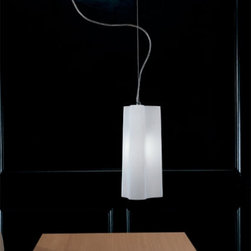 """Zaneen - Panzeri - Zaneen - Panzeri Alvi Pendant Light D8-1007 - The Alvi series has been designed by Enzo Panzeri for Panzeri. Pleasantly surprising sinuous lines assert themselves in the living space offering new furnishing ideas with a fascinating and limpid personality. Swag type installation is available upon request.  Product description: The Alvi pendant light from Zaneen has been designed by Enzo Panzeri for Panzeri. Pleasantly surprising sinuous lines assert themselves in the living space offering new furnishing ideas with a fascinating and limpid personality. Swag type installation is available upon request. Details:                         Manufacturer:             Zaneen - Panzeri                            Design:                         Enzo Panzeri                                         Made in:            Italy                            Dimensions:                         Height: 14 1/4"""" (36 cm) X Width: 6 3/4"""" (17 cm)                                         Light bulb:                         1 x 150W Incandescent                                         Material                         gray metal, blown white glass"""