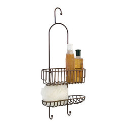 Nottingham Hanging Shower Caddy with Extended Height Basket - Keeping your soap, sponge, or shampoo close at hand, this traditional shower caddy is both useful and attractive. The low top basket makes this caddy perfect for larger bottles or accessories.