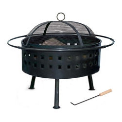 "Kay Home Products - Lambton Outdoor Fireplace - Kay Home Product's Lambton Wood burning Outdoor Fireplace. A stylish contemporary design makes this outdoor fire pit a perfect fit for any backyard decor. Just lift off the high domed spark guard, add a few logs and enjoy as the fire illuminates thru peek-a-boo cutouts as well as the screened top. Invite some friends to gather around and make the most of those summer nights. Fireplace is 25"" round with a fine mesh screen spark guard Steel rail adds a touch of style and keeps everyone a safe distance from the heat. Burn your choice of wood or artificial logs and have a warm inviting fire in minutes; Producing up to 5 sq. ft. of heat, depending on fuel choice. The sturdy steel construction with high temperature matte black finish will hold up to the elements and provide enjoyment for years. High domed spark screen with handle contains a large fire while the metal railing surrounding the fire pit provides extra safety. Log grate keeps fire off the base of the unit and the fire tool makes it easy and safe to move fuel."