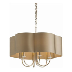 Arteriors - Rittenhouse Chandelier, Taupe Sheer, Standard - A chandelier with a shade makes a marvelous ceiling centerpiece for your favorite formal setting. Here, sweeping arms of steel take either an antique silver or bronze finish and a scallop-edged topper.