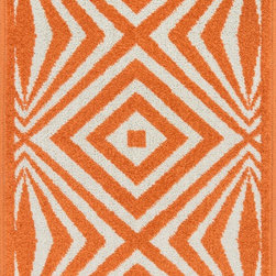 "Loloi Rugs - Loloi Rugs Terrace Collection - Ivory / Orange, 1'-8"" x 2'-6"" - Bold design and bright colors come together beautifully in the outdoor-friendly Terrace Collection. Each Terrace rug is power loomed in Egypt of 100% polypropylene that's specially treated to withstand rain and UV damage without staining or fading color.�"